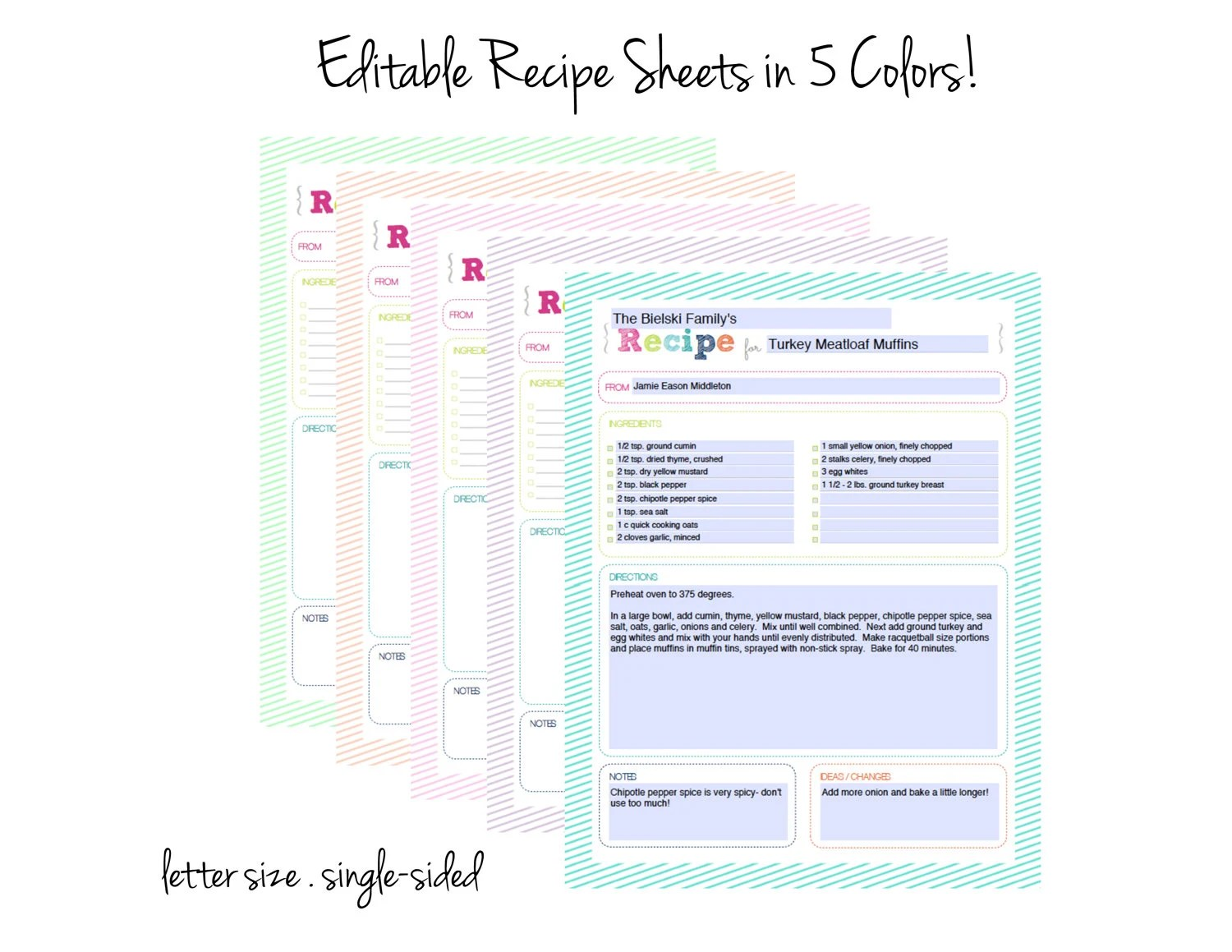 EDITABLE Recipe Binder   Printable Planner Inserts PDF Etsy