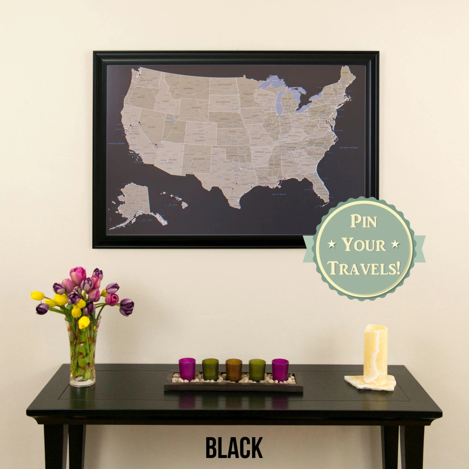 Arte Naif Pdf Earth Toned Us Push Pin Travel Map With Pins And Frame 27 5