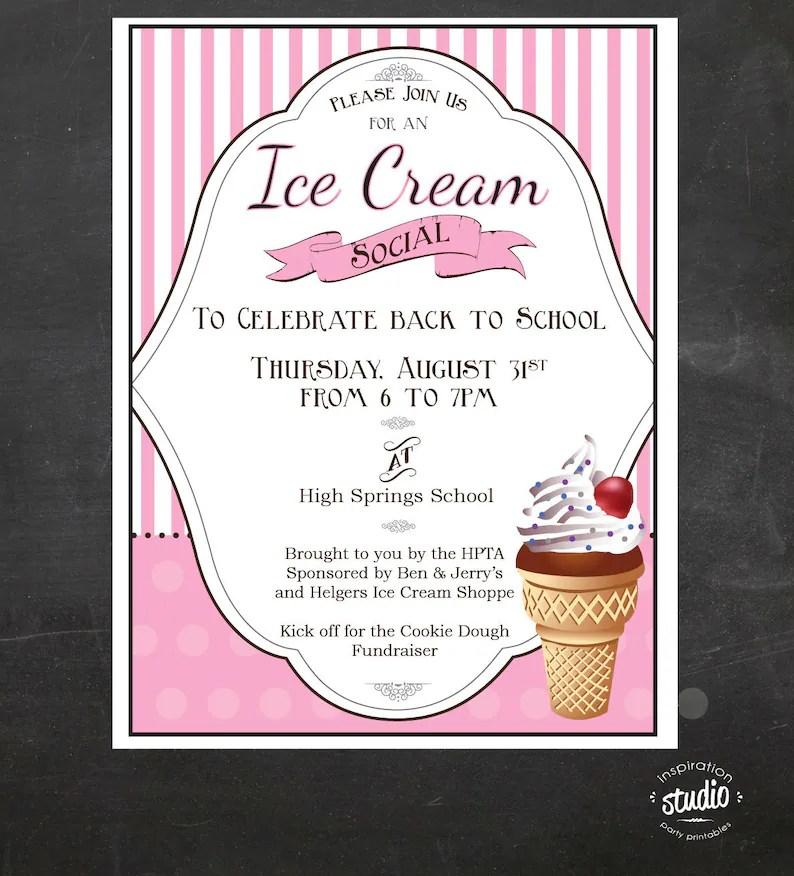 Ice Cream Social Event Flyer Back to School Ice Cream Social Etsy