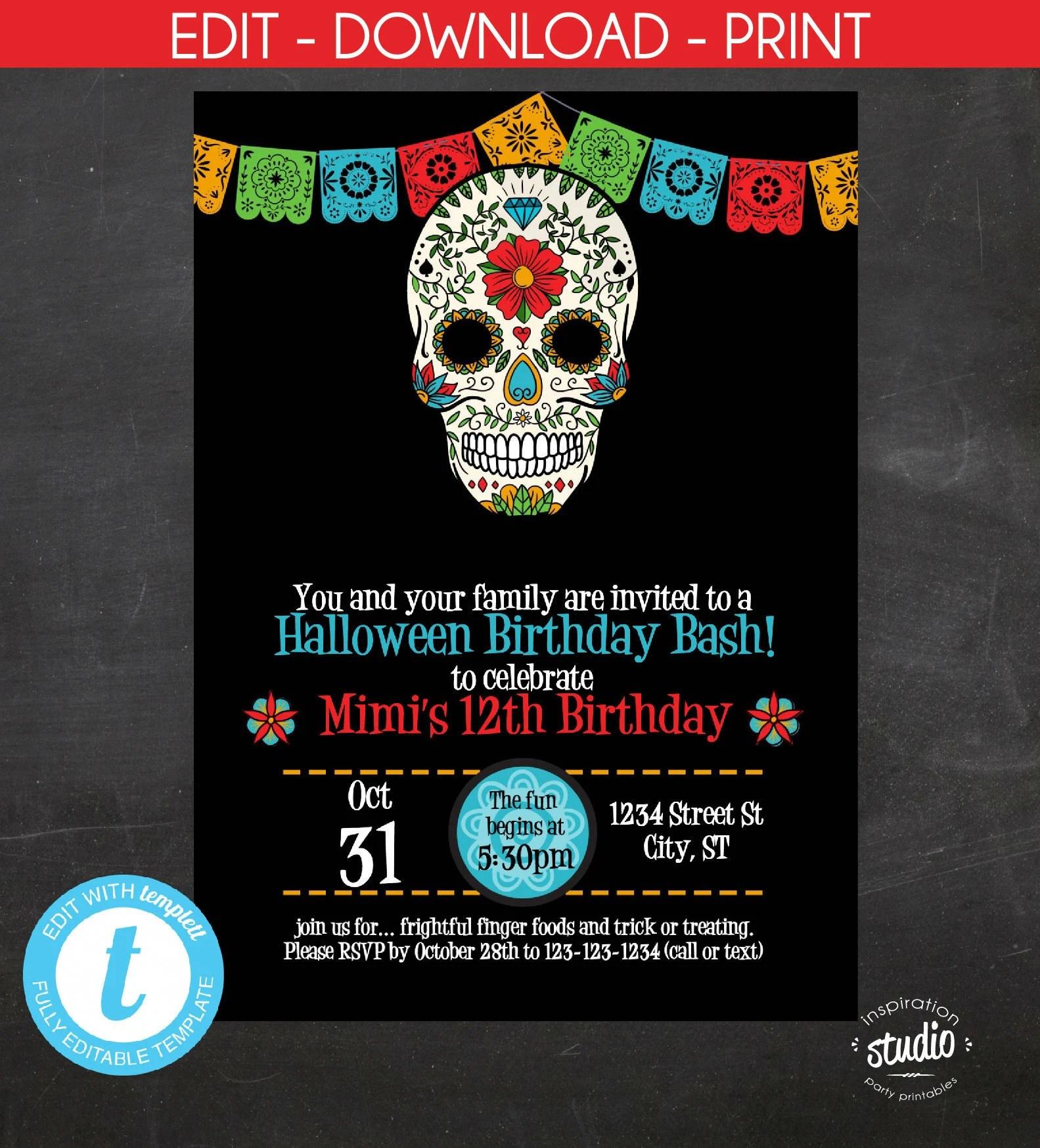 Sugar Skull Birthday Invitation, Halloween Birthday Invite, Day of