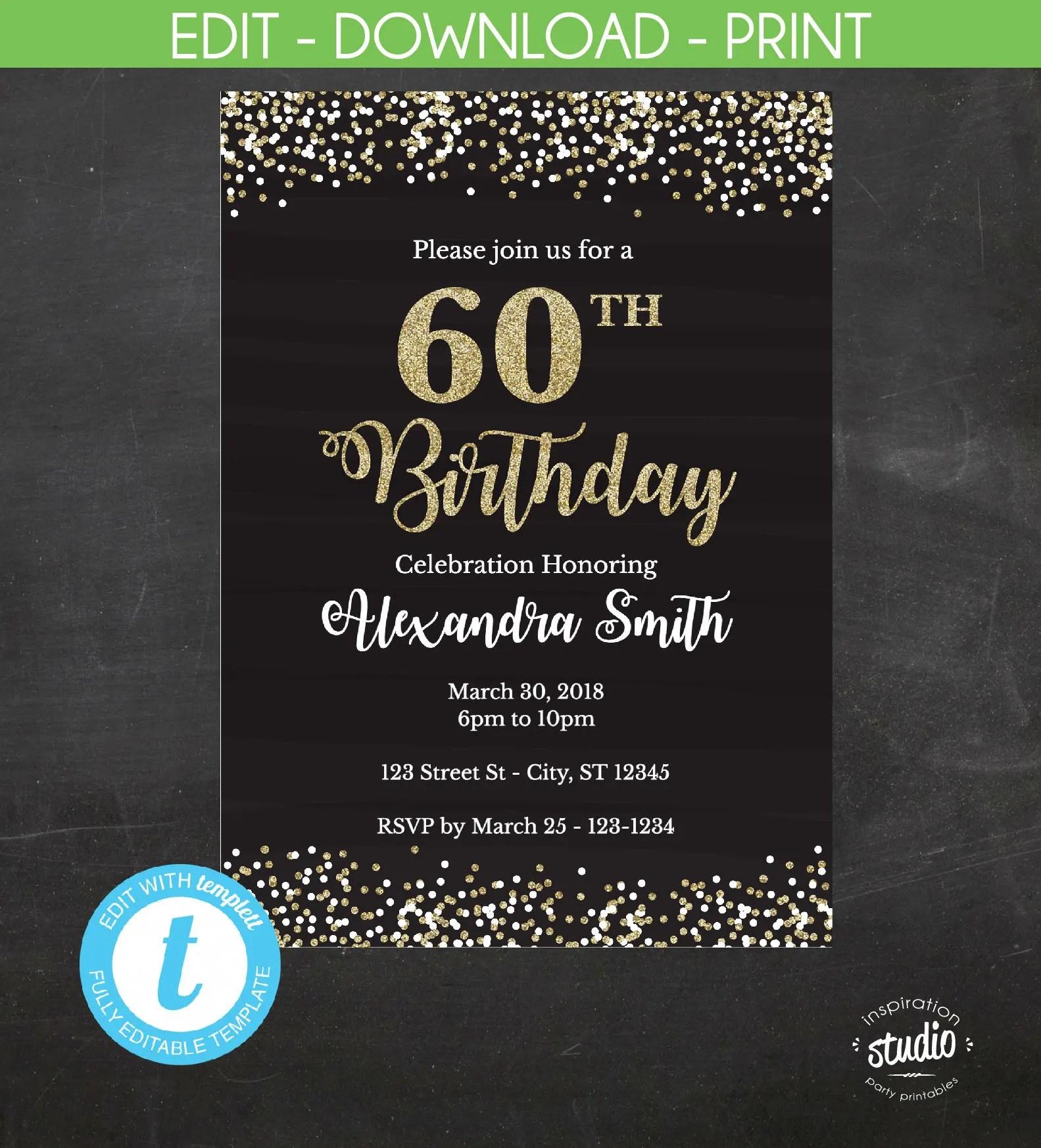 60th Birthday Invitation, 60th Birthday Invite, Black and gold