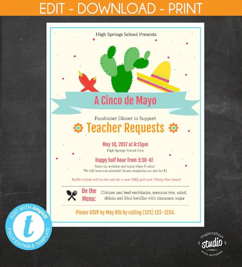 Cinco de Mayo Fundraiser Dinner Flyer PTA PTO School Event Etsy
