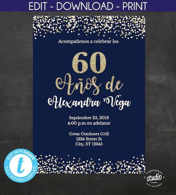 60 Años de, Spanish, 60th Birthday Invitation, Blue and gold glitter