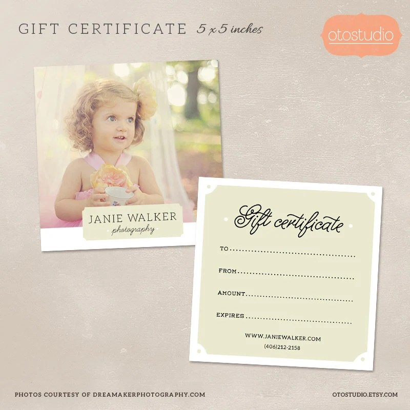 Photography Gift Certificate Template for Photographers PSD Etsy