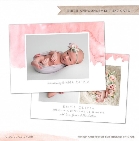 Birth Announcement Template Watercolor Baby Announcement Etsy