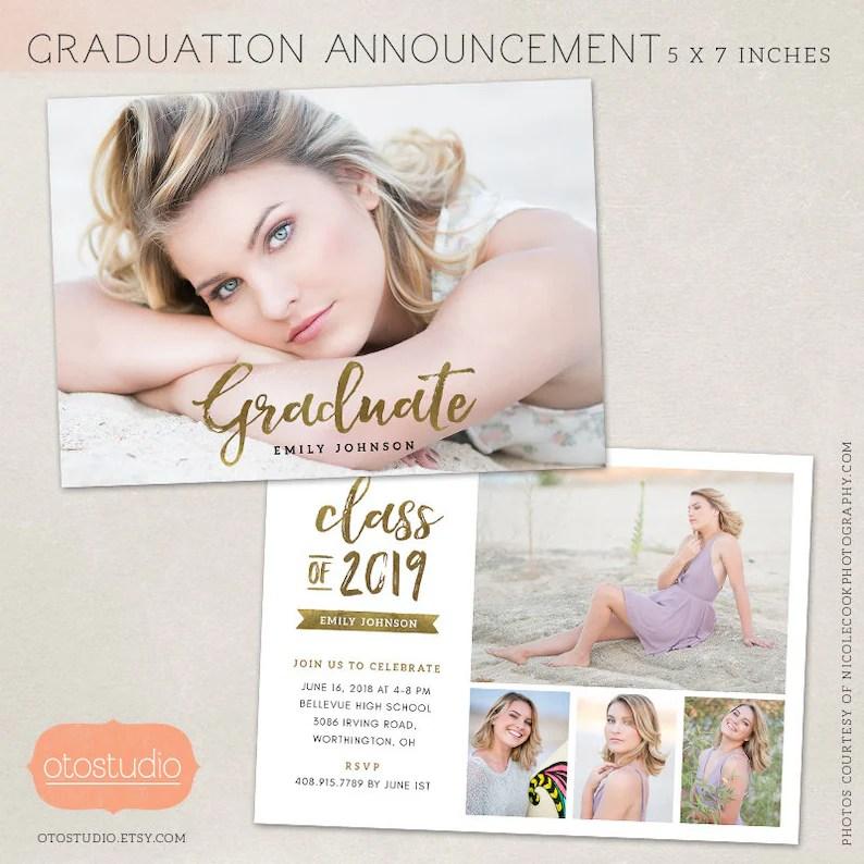 Graduation Announcement Template Senior Grad Card for Etsy