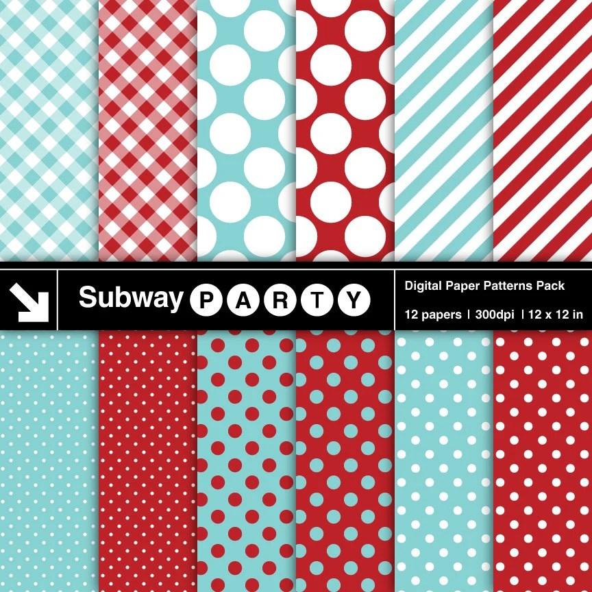 Aqua Blue Dark Red White Polka Dots Stripes  Gingham Etsy