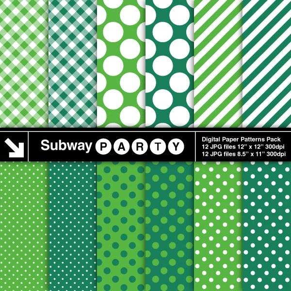 Emerald Green  White Polka Dots Stripes and Gingham Digital Etsy