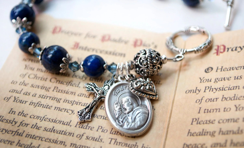 Saint Padre Pio Rosary Bracelet with Novena Card Patron Saint Etsy