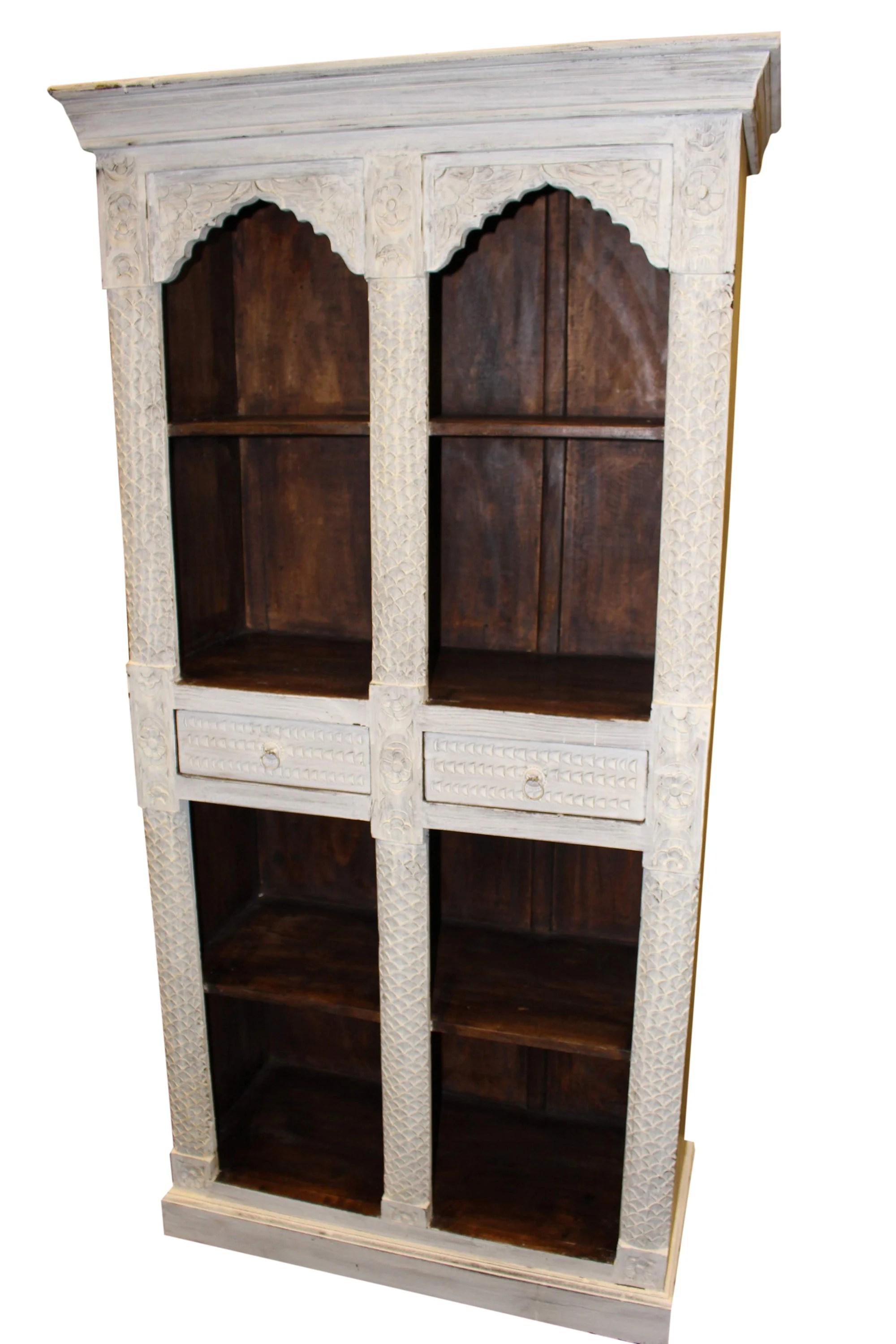 Vintage Bookcase Antique White Dark Brown Indian Style Arch Bookcase Solid Teak Wood Two Drawers Vintage Bookshelf Storage Cabinet