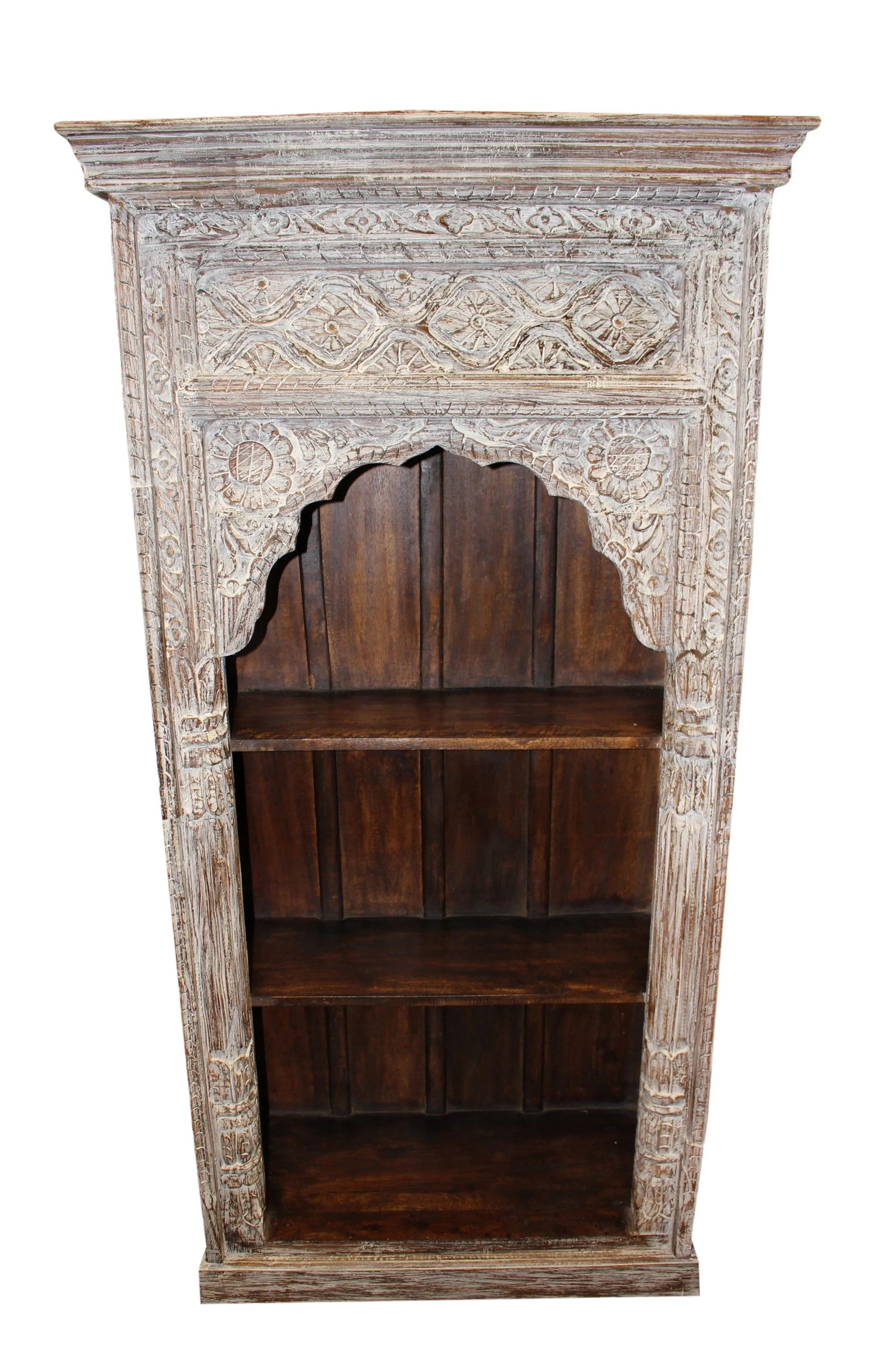 Vintage Bookcase Antique Indian Arched Bookcase Ivory White Wood Book Shelf Vintage Storage Home Decor