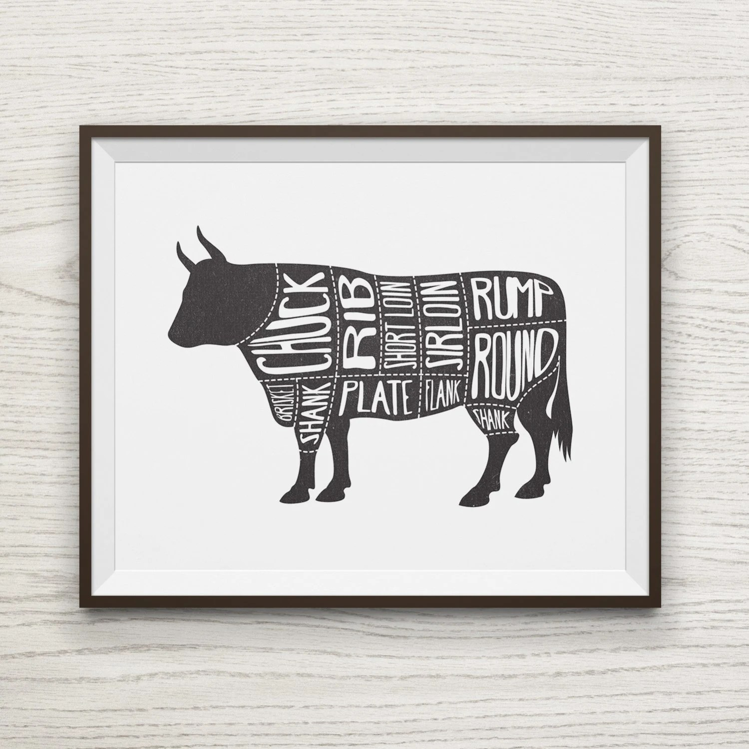 Beef Butcher Print Kitchen Decor Cow Meat Cut Diagram BBQ Etsy