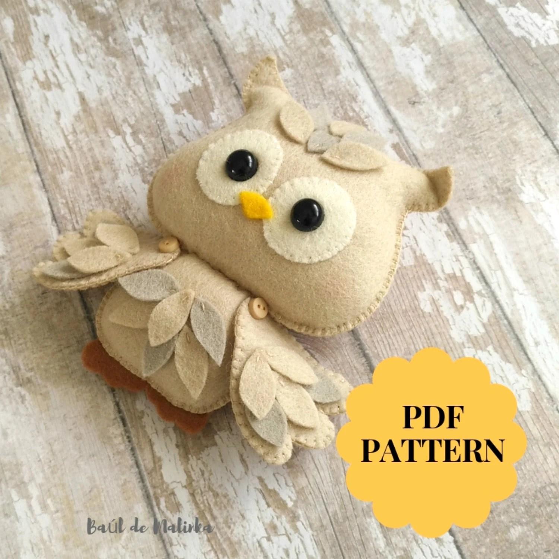 Owl sewing pattern Felt owl ornament Owl doll felt tutorial Etsy