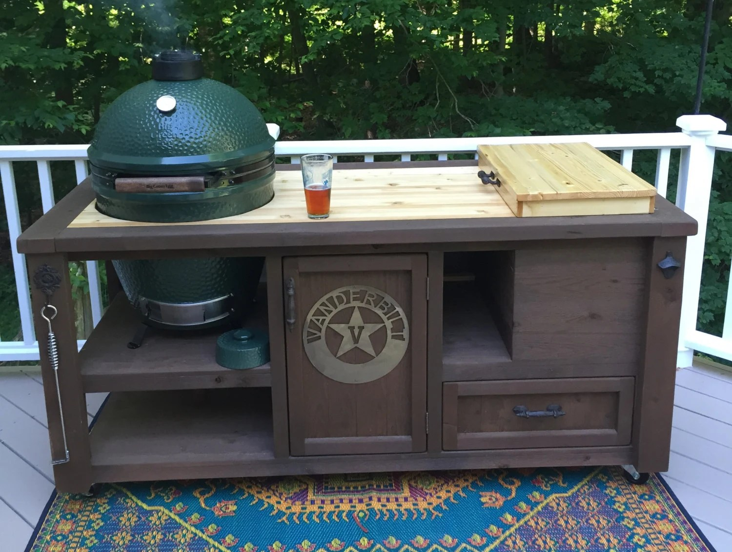 Big Green Egg Outdoor Küche Custom Grill Tables For Kamado Joe Big Green Egg Primo And Dual Or Gas Grill Built In Cooler And Optional Butcher Block Top