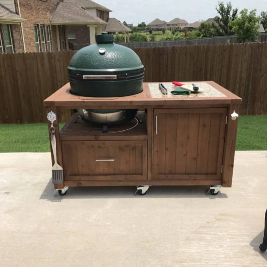Big Green Egg Outdoor Küche Grill Table Cabinet For Big Green Egg Kamado Joe Primo Other Ceramic Grills Grill Carts Outdoor Kitchen Cabinets