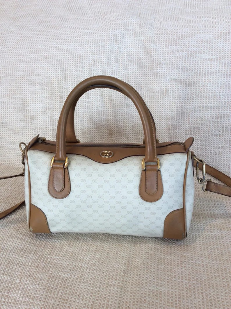 Etsy Vintage Gucci Vintage Gucci Tan Signature Leather And Canvas Satchel Bag Speedy With Strap