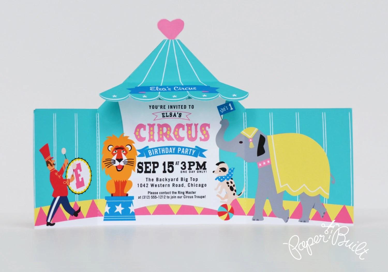 Circus Tent Invitation - Printable Circus Invite, Carnival