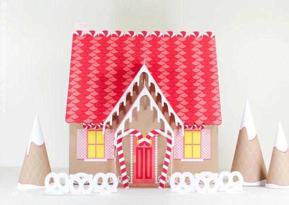 Gingerbread House Kit Paper Dollhouse, Printable Christmas Decor