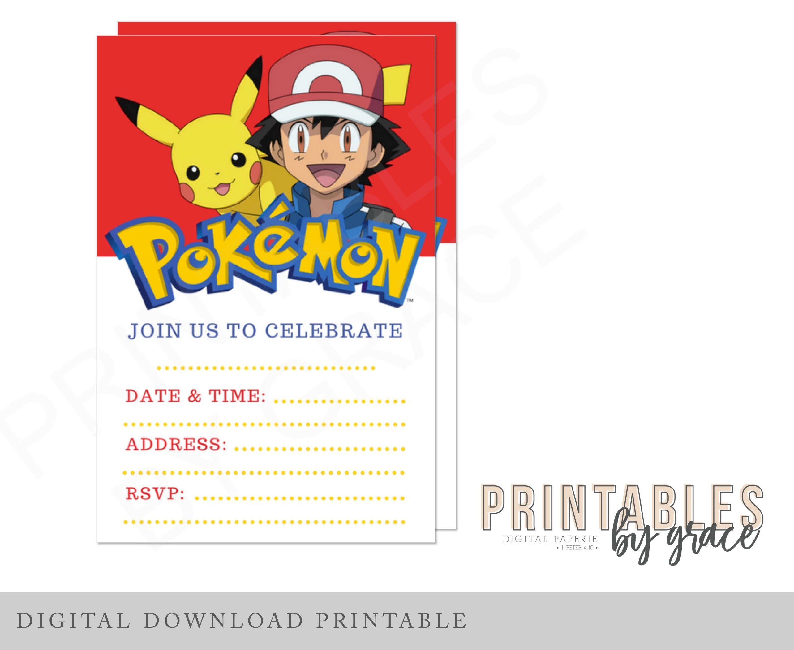 PRINTABLE INVITATION Pokemon Ash Pokeball Pikachu already Etsy