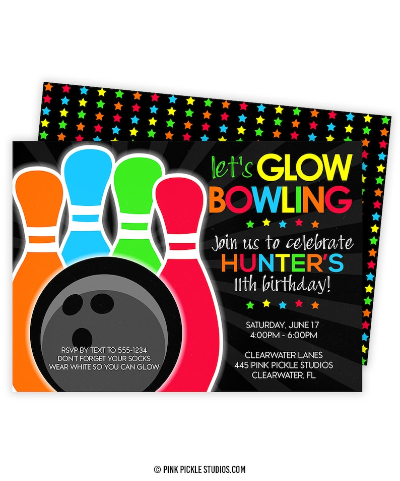 Glow Bowling Invitations Bowling Invitation Glow Bowl Etsy