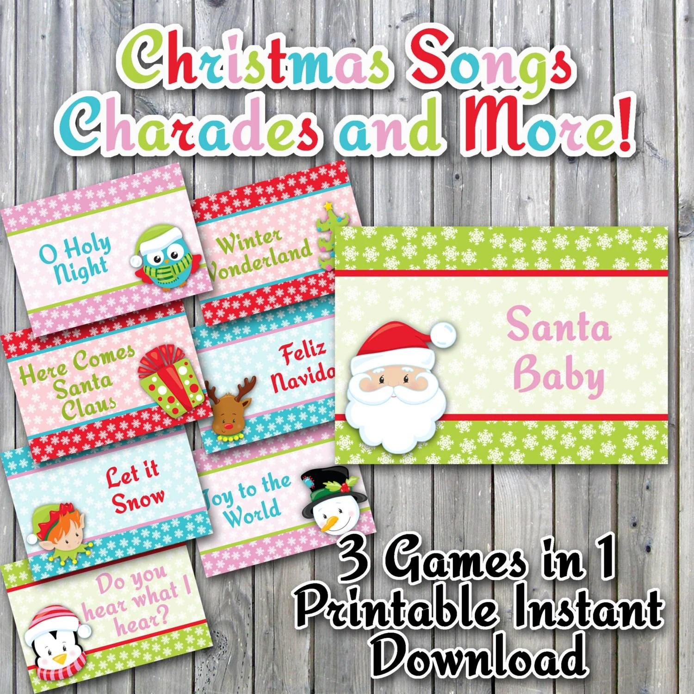 Christmas Charades Printable PDF Christmas Song Version Etsy