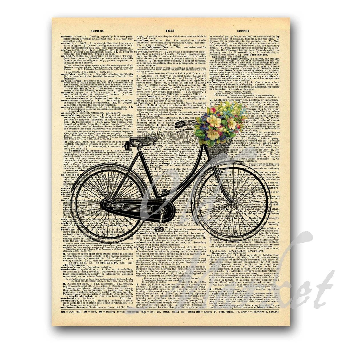 Bike with Flowers on Vintage Dictionary Page Printable Etsy