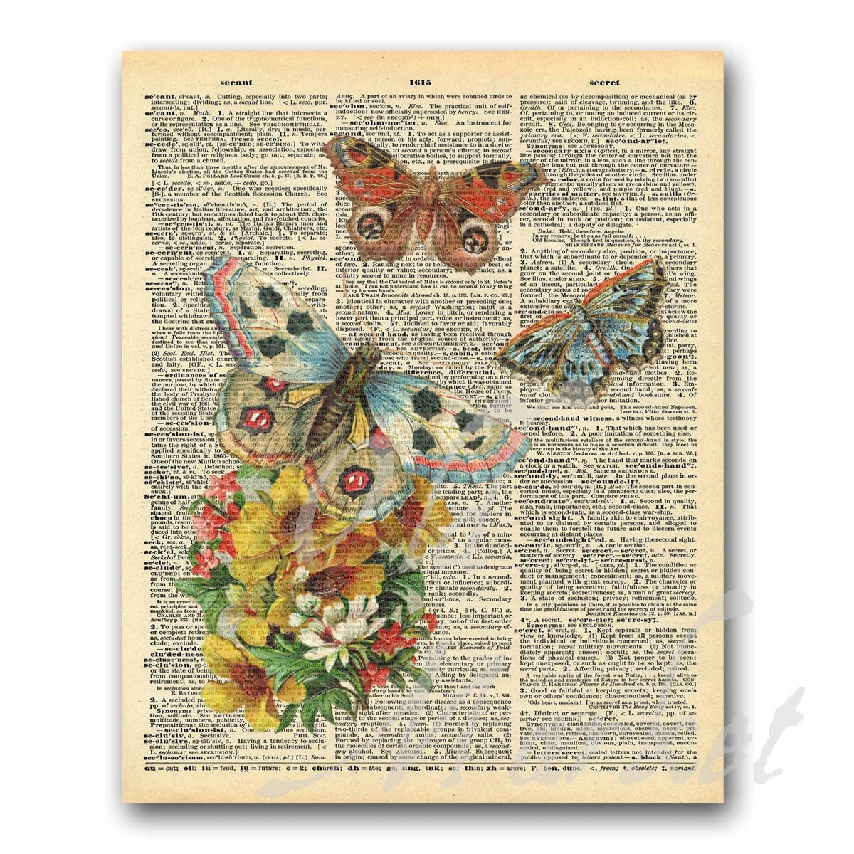 Butterfly Illustrations on Vintage Dictionary Page Printable Etsy