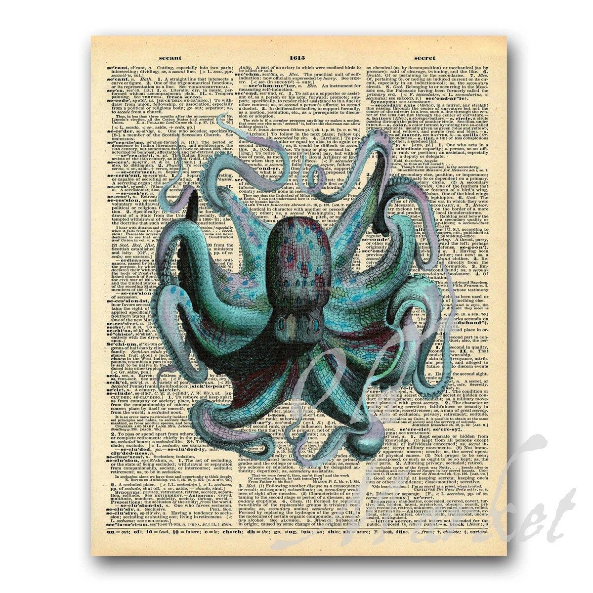 Octopus Illustration on Vintage Dictionary Page Printable Etsy