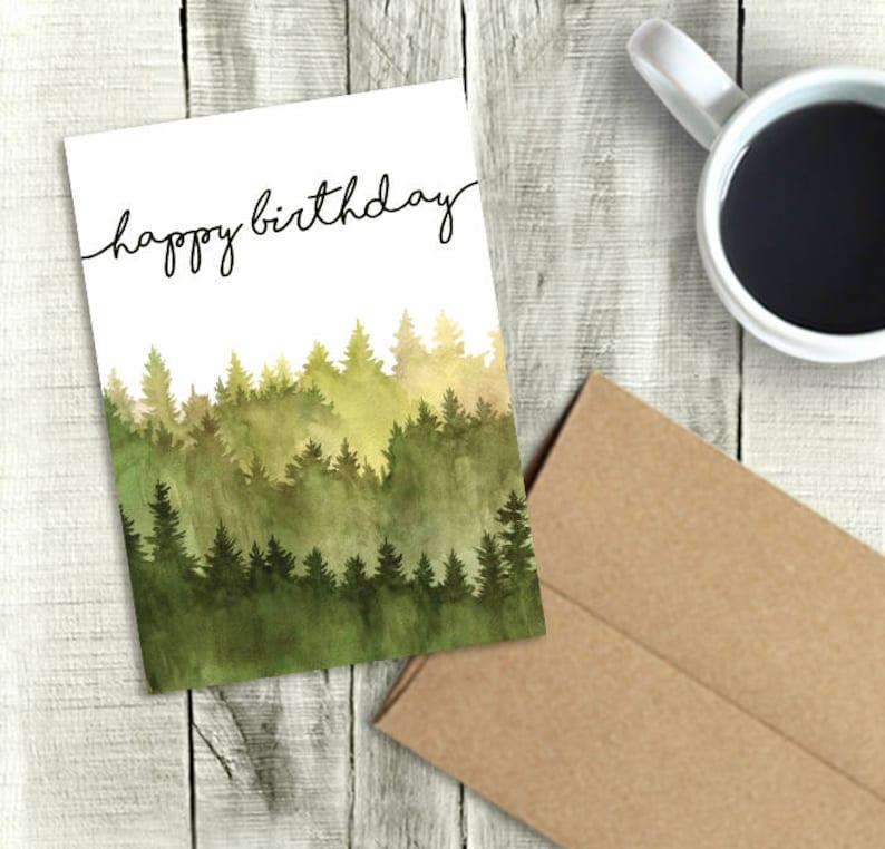 Printable Birthday Card for Him Happy Birthday Watercolor Etsy