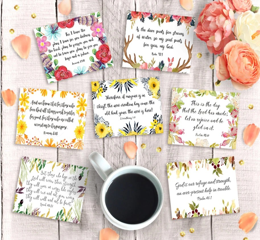 Bible Verse Cards Printable 3x25 Instant Download 9 Etsy