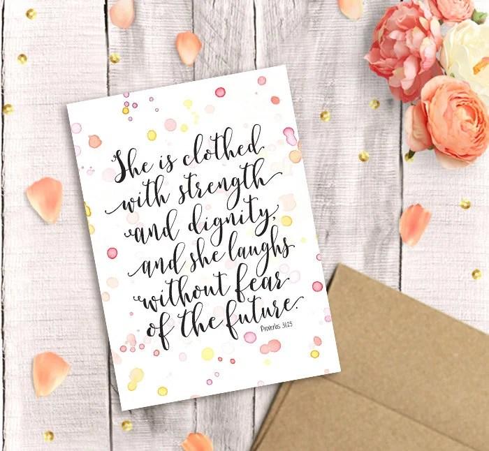 Printable Proverbs 31 Card Bible Verse Watercolor Scripture Etsy