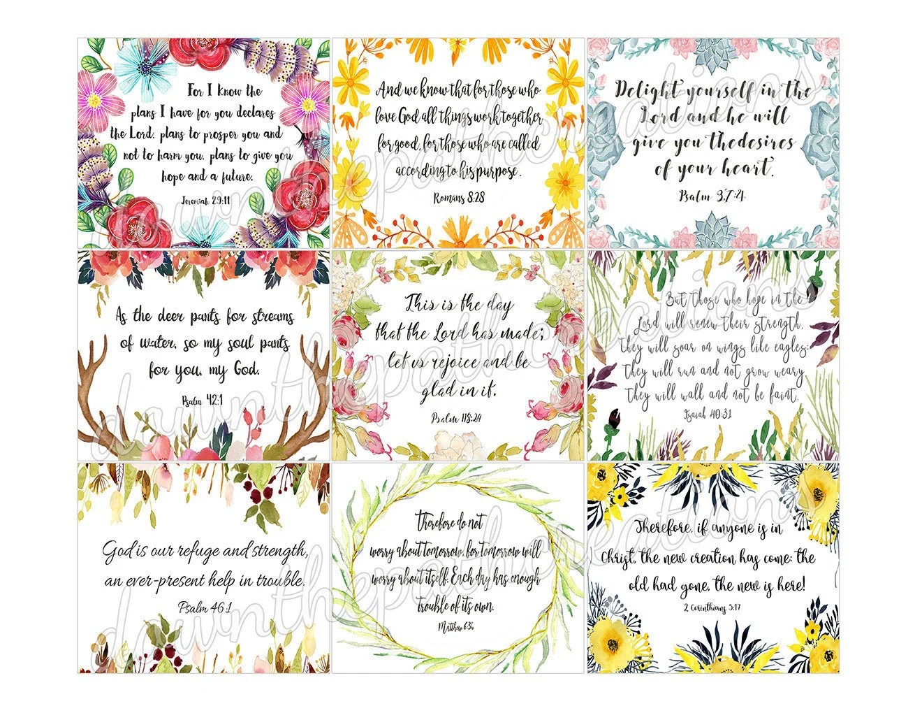 45 Printable Bible Verse Cards 3x25 Instant Etsy