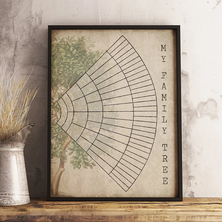6 Generation Family Tree Fan Chart Instant Download Etsy