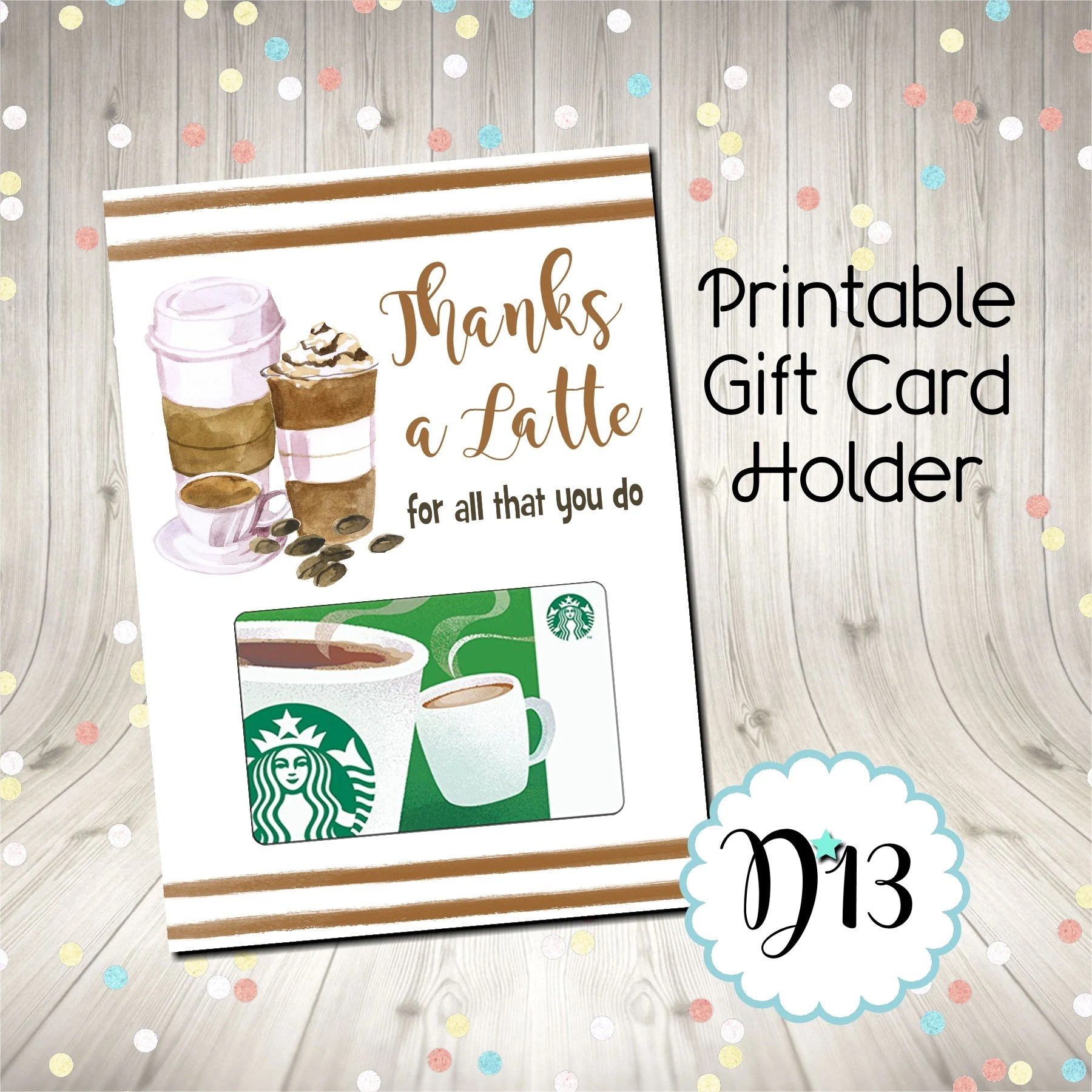 Thanks A Latte Thank You Card Printable Digital INSTANT Etsy