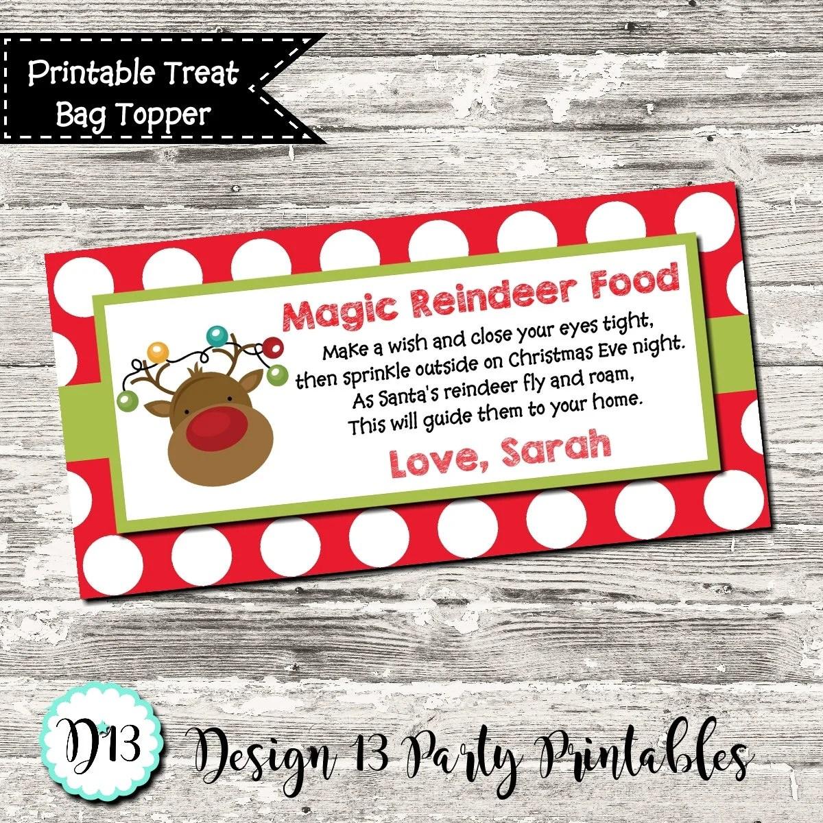 Reindeer Food Christmas Treat Bag Topper Favor Digital Printable by