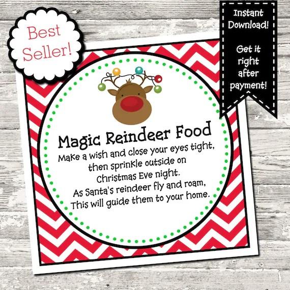 Magic Reindeer Food Square Tag Digital Printable Christmas Etsy