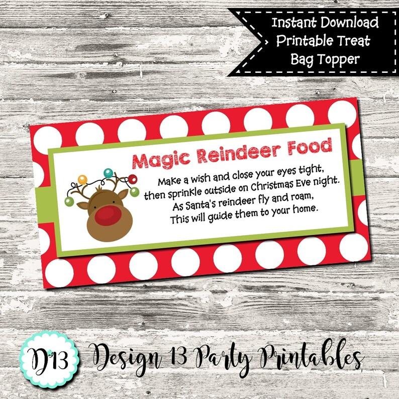 Reindeer Food Christmas Treat Bag Topper Digital Printable Etsy