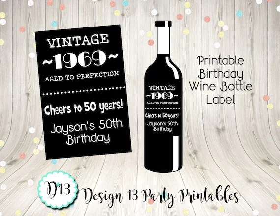 Vintage Aged To Perfection Birthday Wine Bottle Labels Wine Tag 40th
