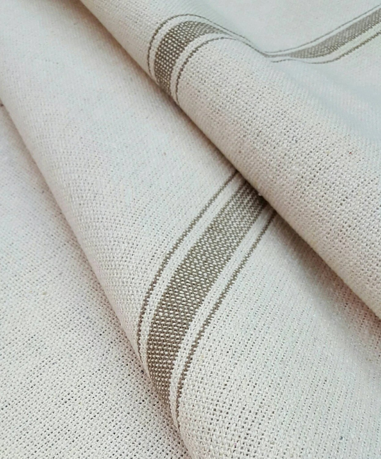 Flour Sack Fabric By The Yard Grain Sack Fabric By The Yard Ticking Fabric Tan 3 Stripe