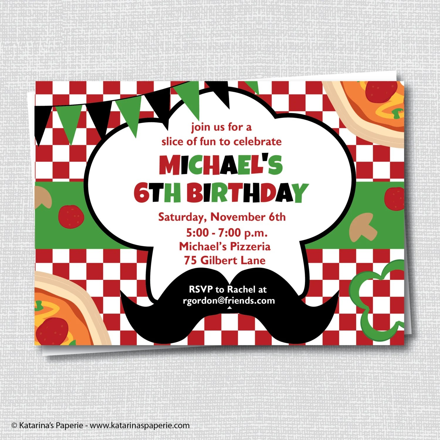 Pizza Birthday Party Invitation Pizza Party Invite Pizza Etsy