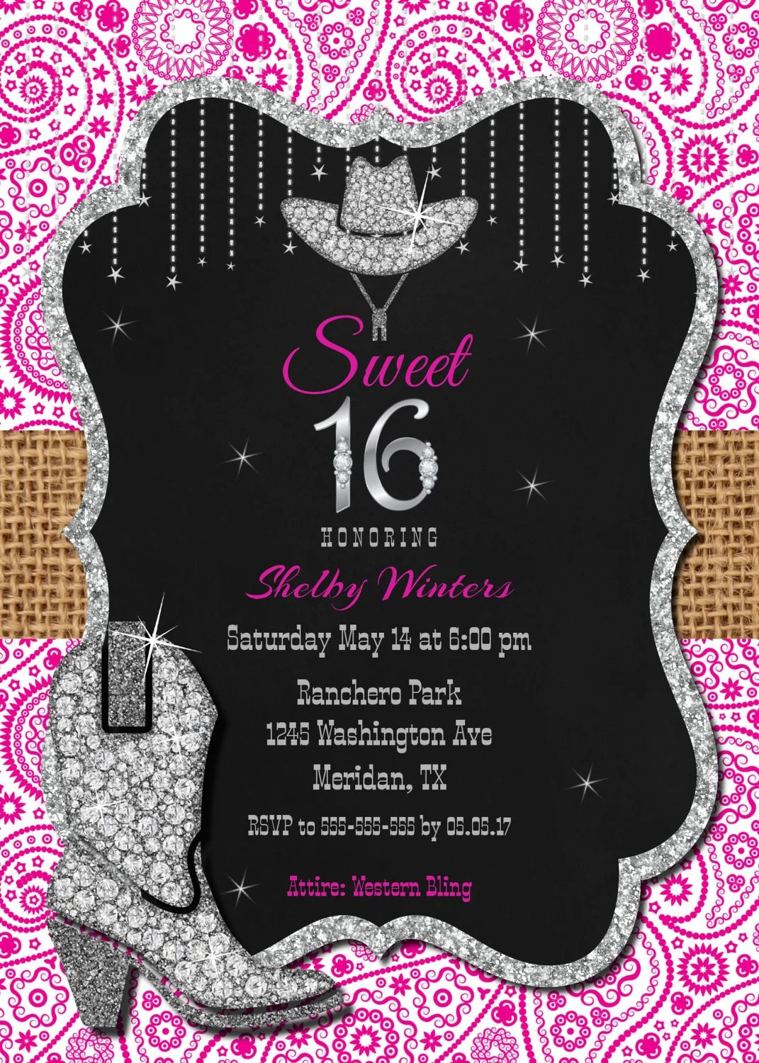 Sweet 16 Invitation, Printable Sweet sixteen Invitation, 16th