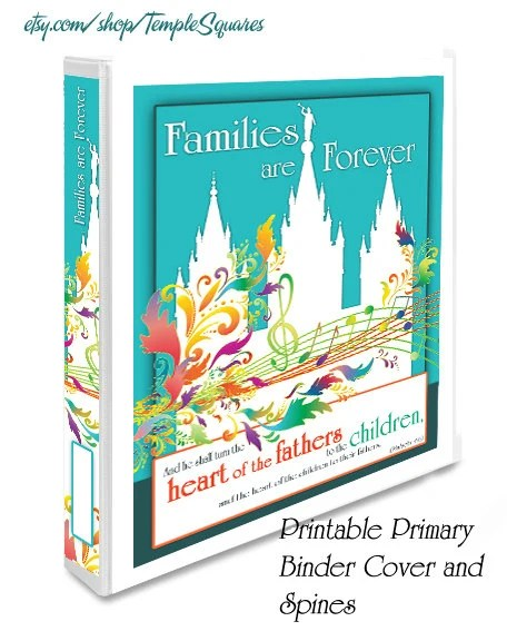 Printable Colorful Primary Binder Covers and Spines LDS Temple Art