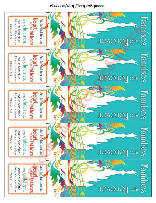 Printable Bookmarks LDS Families Are Forever Five Large 2x8