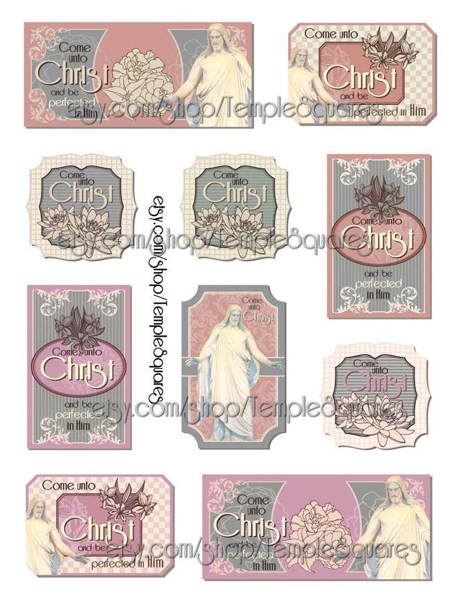 Printable Files for Vintage Style Gift Tags or Labels Come Unto