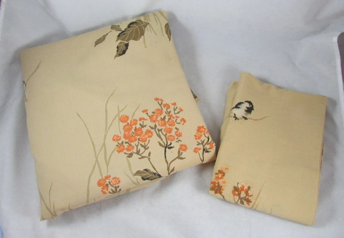 Full Double Bed Little Chickadee Pequot Full Double Bed Flat Sheet With Pillowcase Spring Mills Brown Orange Bird Print