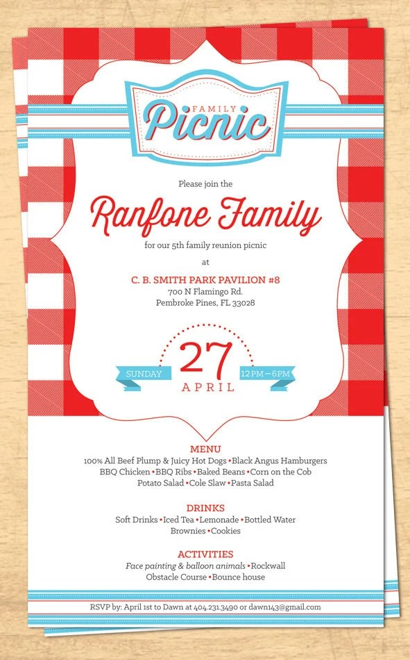 Family Reunion Picnic Invitation - BBQ Invitation - 4th of July - 4th of july template