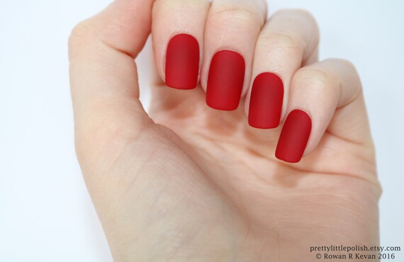 Matte Red Short Square Nails Nail Designs Nail Art Nails