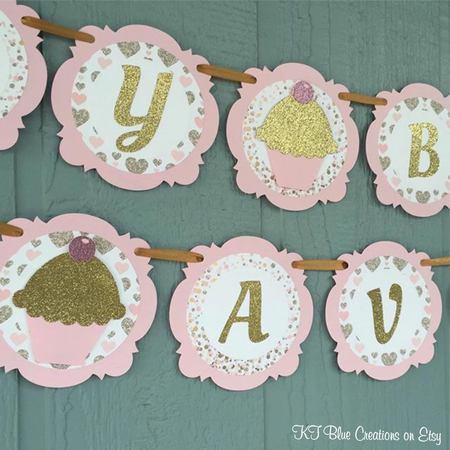 CUPCAKE Birthday Banner - Personalized Banner - Cupcake Party - Pink