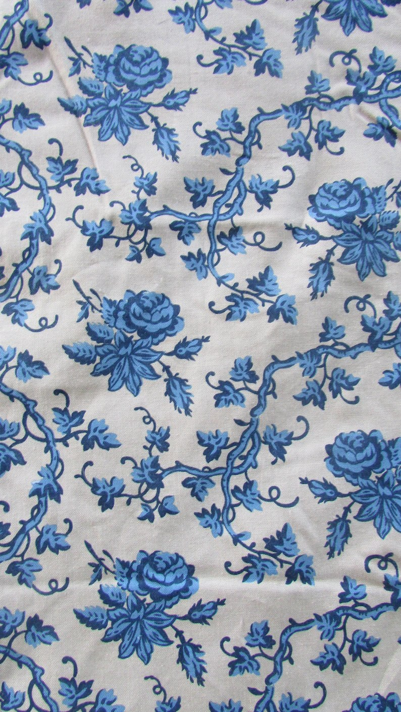 China Blue Curtains Vintage Print Blue Floral Fabric Windham China Blue By The Yard Cotton Sewing Materials Quilting Materials Home Decor Fabric