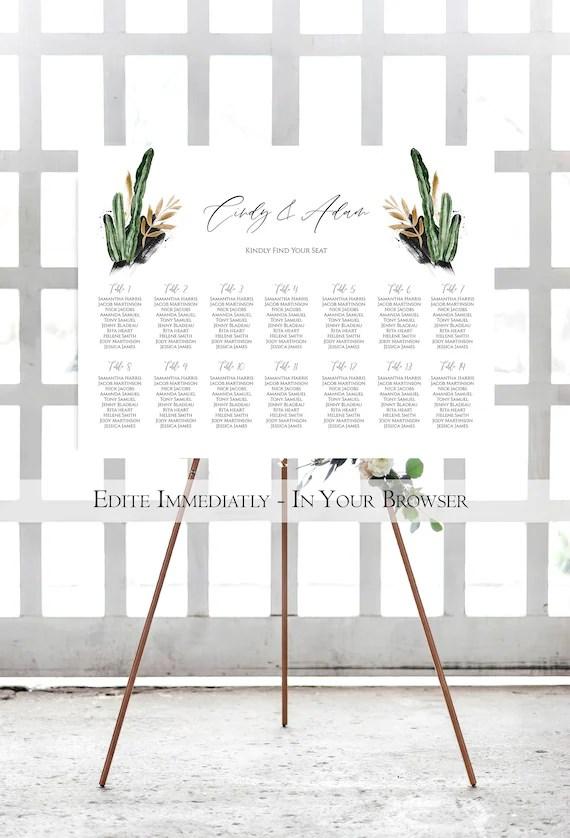 Printable Cactus Wedding Seating Chart Template Desert Etsy